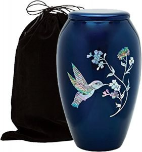 Mother of Pearl Inlaid Metal Cremation Urn​